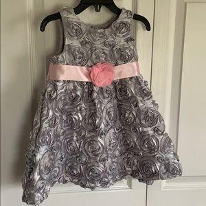 Silvery Grey Rosette Dress